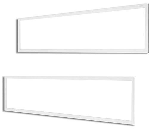 2 Pack Dimmable 1x4 Ft 37W Slim LED Panel Light, White Frame, CCT 5000K (Daylight) 3960 Lumen, 100-277V, DLC Listed, Flicker Free 0-10V Dimming