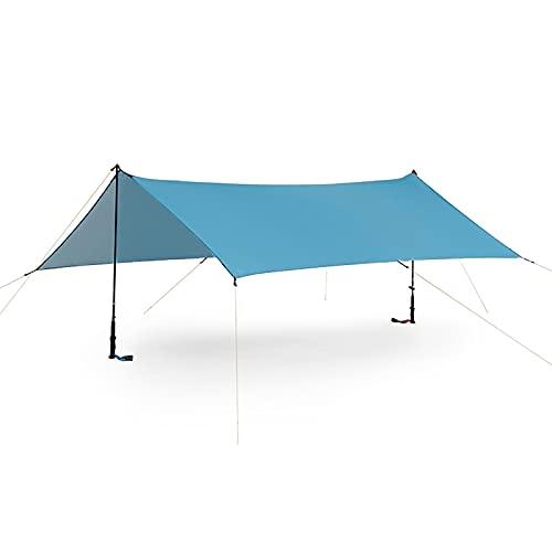 ENCOFT Sonnensegel Wasserdicht Rechteckig Sonnenschutz Block 95% UV Garten Balkon Schwimmbad Leichtgewicht Überdachung mit Seil Bodennagel Blau mit Stangen 3x4.5m