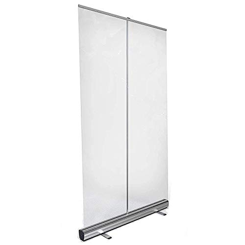ZHANGLE Roller Pull Up Transparent Banner fácil de Transportar Floor Standing PVC Estornudo Pantalla Protectora con Soporte de Aluminio Pantalla de partición Transparente Plegable,200x100CM