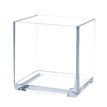 Flower Acrylic Vase Decorative Centerpiece for Home or Wedding by Royal Imports - Break Resistant - Cube Shape 6 x6  6  Tall