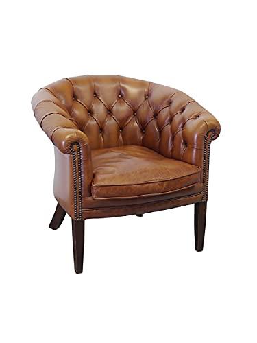 Antike Fundgrube Sessel im Chesterfield Design | Clubsessel aus Leder | Brauner Ledersessel (10281)