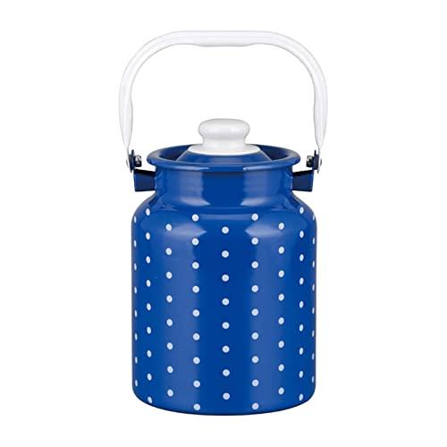 Adima Cubo De Leche Esmaltado Con Tapa Sellada Y Un Solo Mango, 4L La Leche Puede Cubo De Vino Botella Jarra De Agua Bote De Leche Para La Leche Y Vino Almacenamiento De Líquidos (3 Colores),Azul