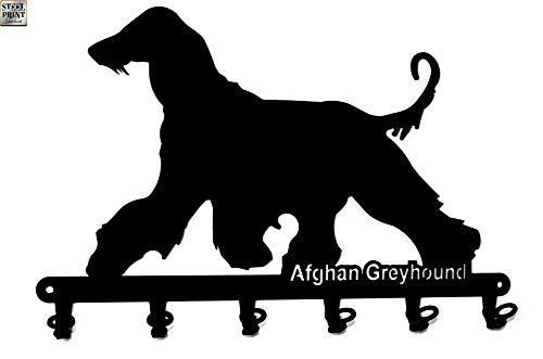 steelprint.de Schlüsselbrett/Hakenleiste * Afghan Greyhound * - Windhund - Schlüsselleiste - 6 Haken