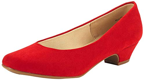 DREAM PAIRS Women's Mila Red Suede Low Chunky Heel Pump Shoes Size 8 M US