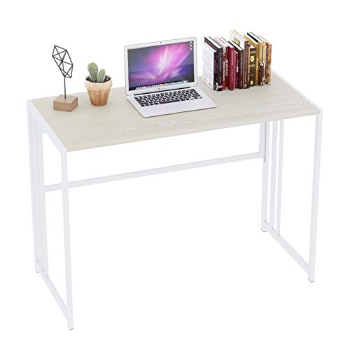 Gezen Folding Desk 40'' Computer Desk for Home Office, No Assembly Office Desk Foldable Simple Study Writing Desk Table for Small Spaces(Beige, White)