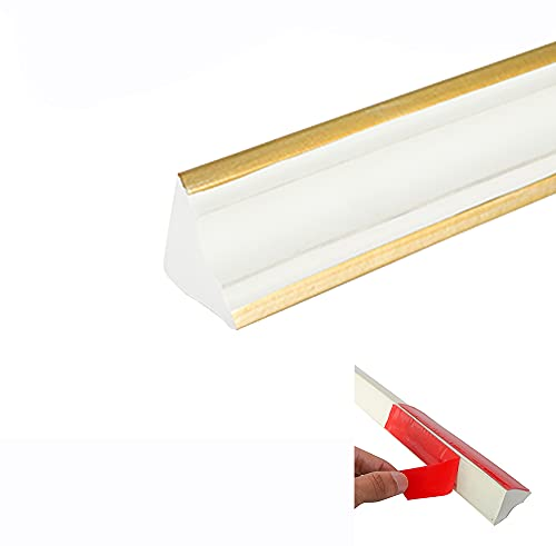 Flexible, Self-Adhesive, Caulk and Trim Strips for Floors Window Door Ceiling Countertops and More, 1-1/2 Inch x 16 Feet, White&Gold