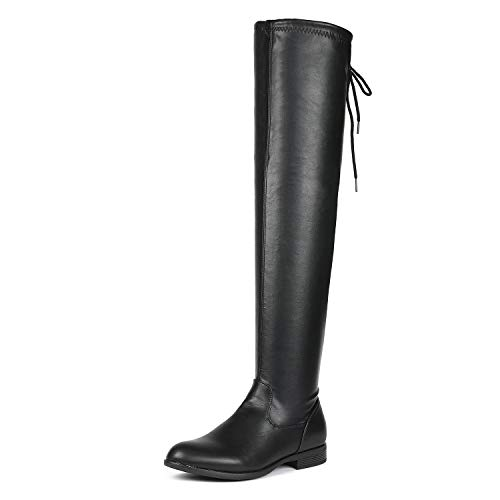 DREAM PAIRS Women's Overide Black Pu Low Heel Thigh High Over The Knee Flat Boots Size 6 B(M) US
