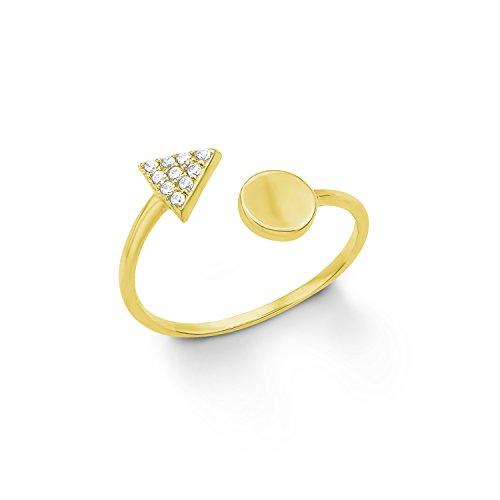 s.Oliver Damen-Ring Dreieck Kreis Geometrie Silber vergoldet Zirkonia weiß Gr. 56 (17.8)-2012665