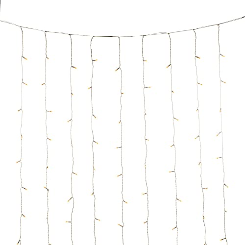 Konstsmide Christmas LED Light Curtain / 2 x 2 Metre/Outdoor or Indoor (IP44) / Transparent Cable, Amber White