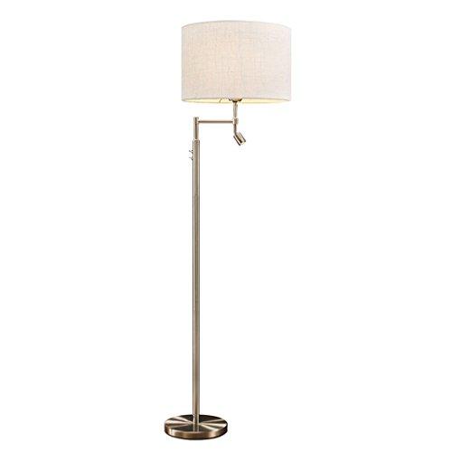 Lamparas de pie Lámpara de pie moderna del acero inoxidable LED que lee la lámpara, sofá de la sala de estar de la sombra de lámpara de la tela, H158cm × W40cm Lámpara de piso (Color : White)