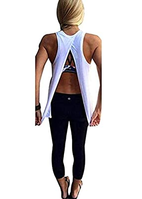 Mazonyi Women's Sexy Open Back Yoga Workout Tops Backless Shirt Active Workout Clothes