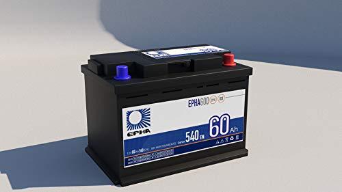 Batería arranque coche EPHA600 12v 60Ah 540A +DER, equivalente a TB620, D24 potente y eficaz