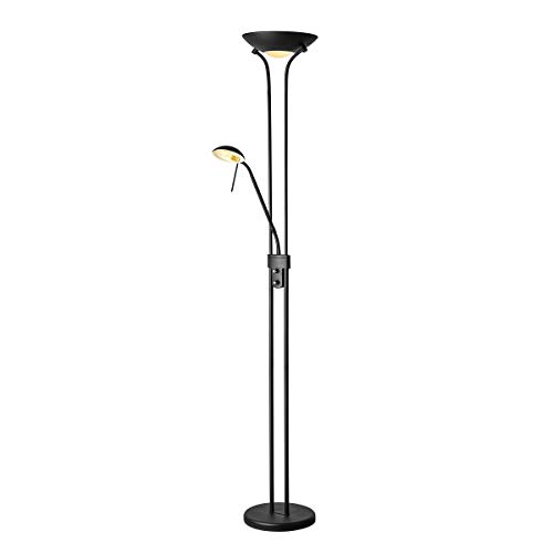 LED Stehlampe Dimmbar Deckenfluter mit Leselampe LED Floor Lamp Uplight Flexibler Leselampe 2 Flammig|3000K (warmweiß), 8/3W, 640/200L, 30000 Stunden, IP20, 180cm (Sand Schwarz) [Energieklasse A++]