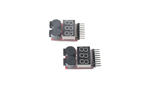 Femitu 1-8s Lipo Battery Tester Low Voltage Buzzer Alarm Rc 2 Pcs