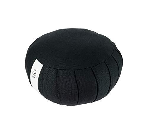 Tierra Zen Kapok ME001F meditación Cojín Negro Ronda de algodón 20 x 17 cm