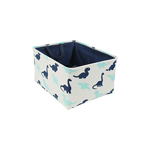 uxcell Storage Basket Linen Storage Bins for Toy Storage,Foldable Laundry Basket with Handles for Clothes Towel Organizer, (Small - 12.2' x 8.3' x 5.1'), Navy Blue Dinosaur