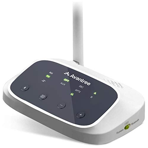 Avantree Oasis (New Version) Receptor Transmisor Bluetooth 5.0 de Largo Alcance para TV, Adaptador de Audio Inalámbrico aptX de Baja Latencia para 2 Auriculares, Doble Enlace, RCA AUX óptico