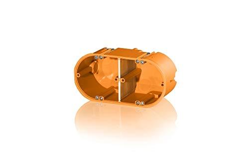 1 Stück 2er Hohlwanddose mehrfach massiv orange Gerätedose Schalterdose Einbau mit Flammschutz