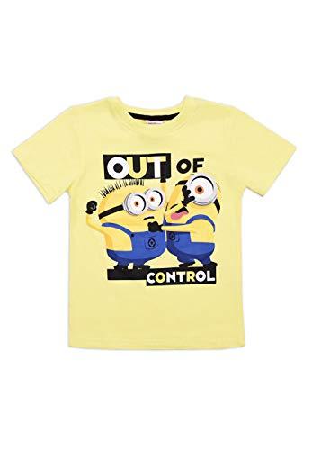 Minions T-Shirt Kinder Jungen Kurzarm-Shirt Oberteil, Farbe:Gelb, Größe:128