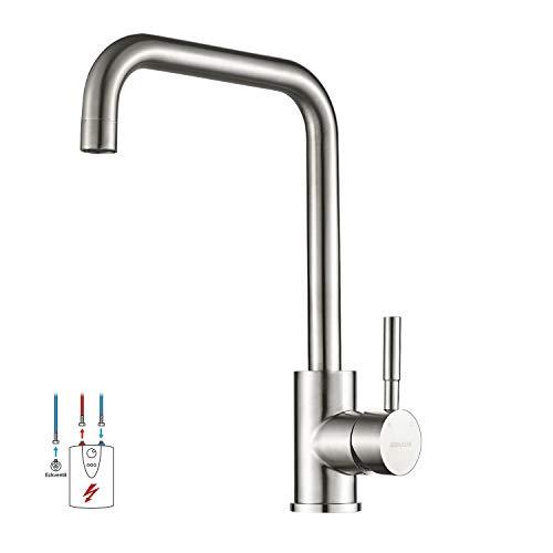 BONADE Niederdruckarmatur Küchen Wasserhahn Edelstahl Spültischarmatur 360° Drehbare Einhandmischer Küchenarmatur mit 3 Schläuch fürs Spülbecken Mischbatterie zum Anschluss an Boiler