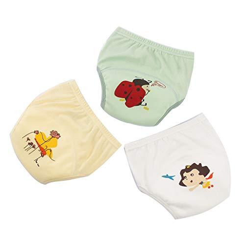 YWXJY Baumwolltrainingshosen-Unterwäsche-wasserdichte Mädchen Jungen, Kleinkind-Baby-waschbare Windel-Schlüpfer-ändernde Windel, lernende Hosen, 6 Schichten, NEUES, 90#, C1