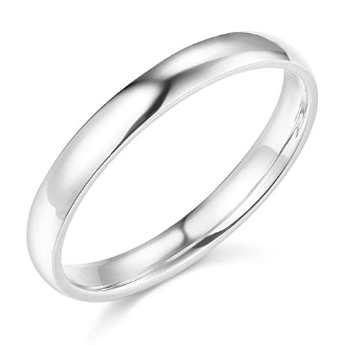 Wellingsale Ladies 14k White Gold Solid 3mm COMFORT FIT Traditional Wedding Band Ring - Size 7