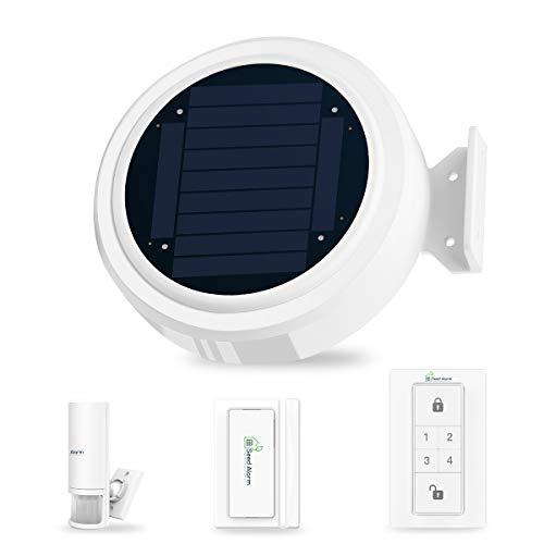 Solar 2G GPRS App Steuerung Drahtlos Funk Alarmanlage Sicherheitssystem Einbruchmeldeanlage Set für Wohnmobil Wohnwagen mit Sonnenalarm Host, PIR-Bewegungsmelder, Tür- und Fensterkontakt, Tastenfeld
