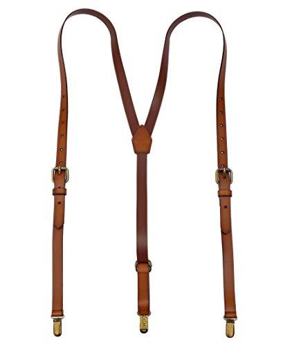 Exception Goods Leather Suspenders For Men Y Back Design Adjustable Brown Genuine Leather Suspenders groomsmen gifts (01# Standard), Large