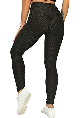 INSTINNCT Leggings de Sport Sexy Femme Anti Cellulite Butt Lifter Taille Haute Push Up Pantalon Amincissant Pour Gym Jogging Yoga Fitness #2-Noir M