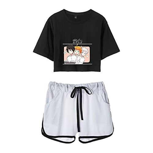 WWZY Mujer Traje Deportivo Anime The Promised Neverland T-Shirt Shorts Comics Emma,Norman Y Ray Camiseta Y Pantalones Nia Cortos Verano 2 Piezas Set,Negro,M