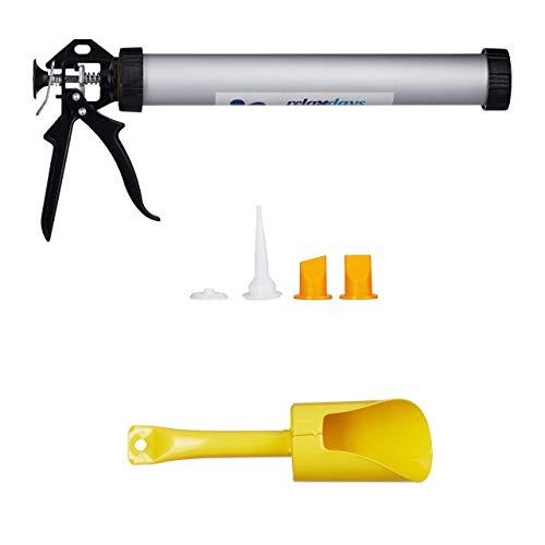 Relaxdays cartridge pistool 600 ml, accessoireset, voegenafdichting, siliconen & lijm, cartridge pers, zilver-zwart, silicone, grijs, 600 ml