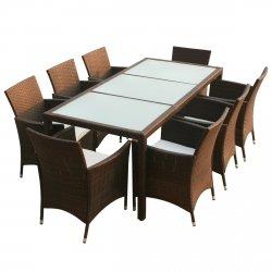 vidaXL 17piezas al aire libre muebles de jardín sillas juego de mesa Poly Rattan marrón