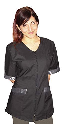 petersabitidalavoro Camice da Lavoro Nero con Inserto,Casacca con Zip, Donna, Estetista,PARRUCCHIERA (M)