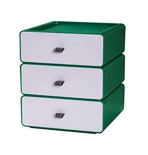YTEU Caja de Almacenamiento de Escritorio cajón de Almacenamiento apilable Caja de Organizador Verde y Blanco pequeña Caja de diseño 20cm * 21cm * 7,5cm * 3