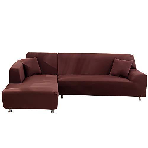 ChicSoleil Sofa Überwürfe Sofabezug Elastische Sofaüberzug einfarbige Stretch Sofa Abdeckung 2er Set für L-Form Sofa (Hellkaffee, 1 Sitzer+1 Sitzer)