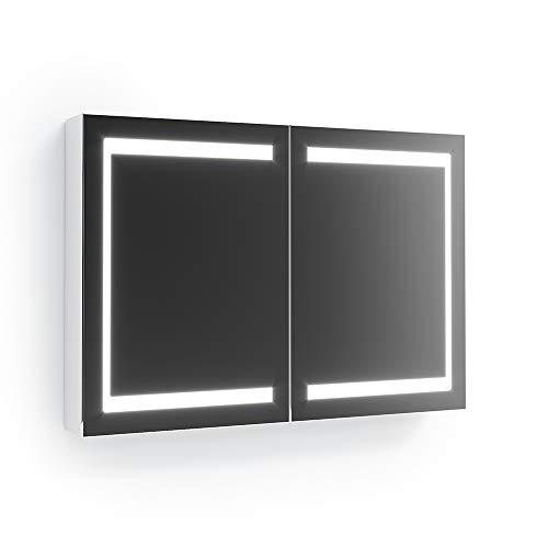 Vicco LED Spiegelschrank Weiß Badschrank Badspiegel Badezimmerspiegel Beleuchtung (100 cm)