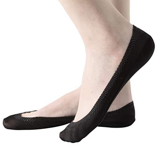 Damen Füßlinge Unsichtbare Sneakers Baumwolle Nylon Socken mit Rutschfest Silikon(4Paar) (EU 35-38, M, 4Schwarz)
