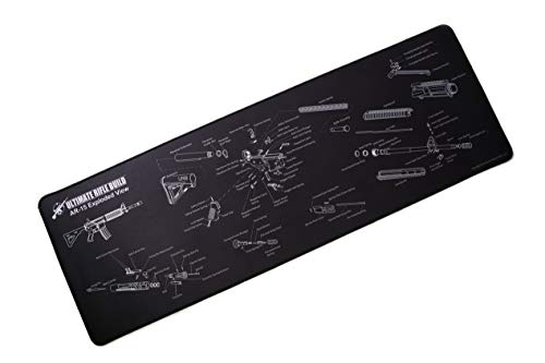 Ultimate Gun Cleaning Mat with Exploded Parts Diagram, Stitched Edges and Non-Slip Backing; Large 12