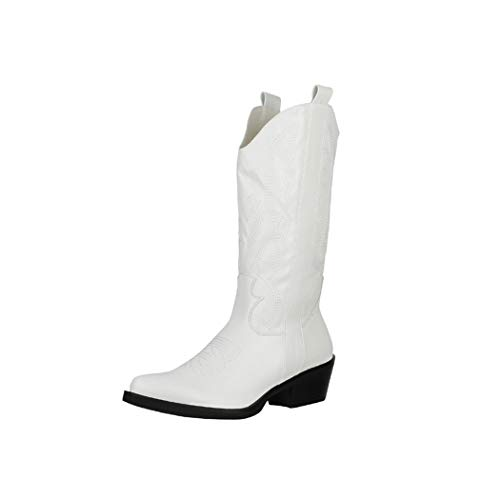 Elara Damen Stiefel Cowboy Boots Chunkyrayan K975-HB White-37
