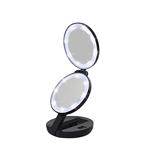 LHQ-HQ Maquillage LED Miroir Miroir Miroir grossissant Compact Vanity Maquillage Miroir de poche à double face Miroirs avec 5x grossissants Compatible with anniversaire, mariage, (Couleur: Noir, Taill