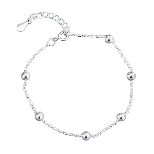 QKL Pulsera de plata para mujer, sencilla y brillante con perlas redondas