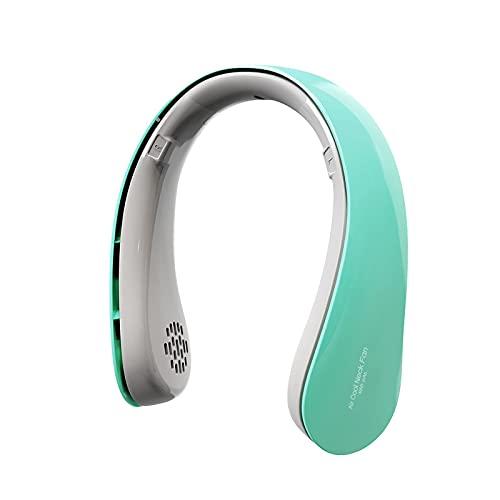 QINX Mini ventilador de cuello para colgar sin hojas, 4000 mAh, USB, ventilador portátil para el hogar, exterior, aire acondicionado, color verde