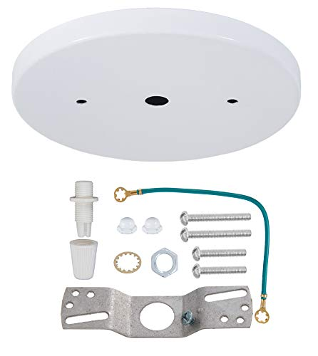 B&P Lamp 5 1/4 Inch Modern Shallow Steel Canopy Kit with Hardware, White