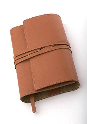 MILANO Lederbuchhülle L naturbraun: Variable Buchhülle aus echtem Rindsleder für Bücher bis 24,5 cm Höhe.