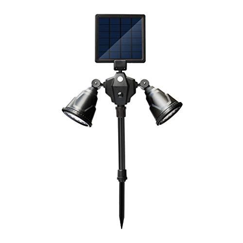 Luces De Tierra, Foco Solar Sensor De Movimiento Mejorado LED De Doble Cabeza Impermeable 360 ° Luces De Seguridad Giratorias for Terraza De Jardín Terraza De Jardín (Color : White light)