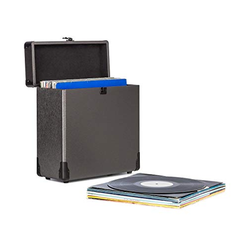 auna Vinylbox ALU - Maletín para vinilos , Maleta para Discos , Conservación de Discos , hasta 30 Discos de 30 cm , Tapa con Cierre , Carcasa de Aluminio , Negro