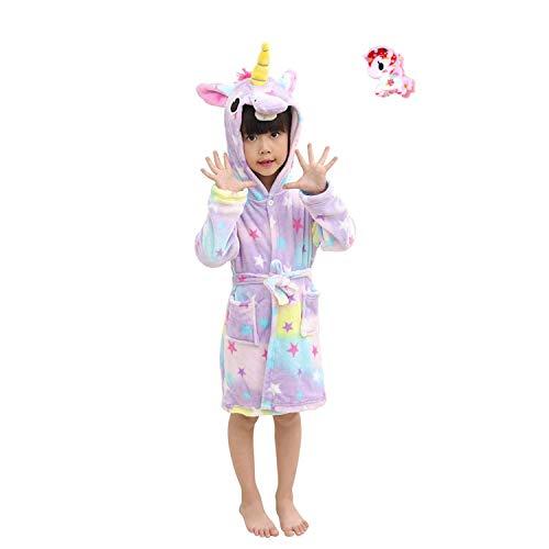 LUCKAPPY Albornoces con Capucha de Unicornio para niñas, cómodos Pijamas de Franela Suave Ropa de Dormir Ropa de Dormir para niños, niños pequeños...