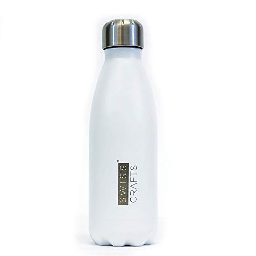 Swiss Crafts 12oz Double Wall Vacuum Insulated Stainless Steel Water Bottle, Keeps Drinks Cold for 24 hours & Hot for 12 hours | Perfect for Outdoor Sports Camping Hiking Cycling, BPA Free (White)