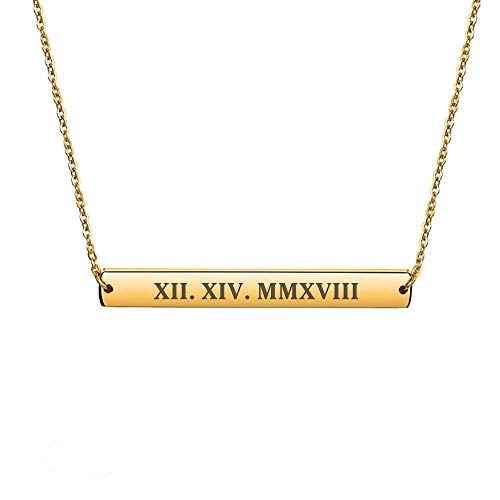 howson london Personalised Bar Necklace Name Engraved Necklace in Silver, Rose, Gold Plated Custom Any Text Free Engraved UK Stock