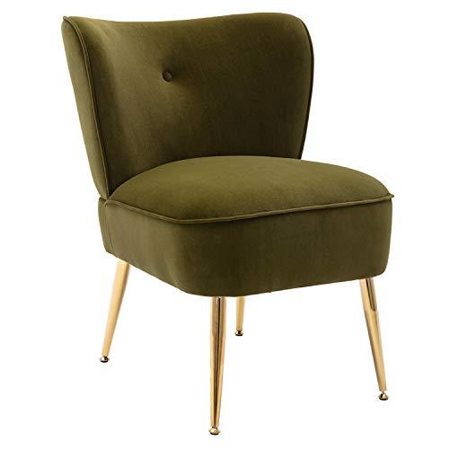 Merax Modern Upholstered Accent Side Chairs for Bedroom, Living Room or Office, Velvet, Including Golden Metal Legs, Grass Green